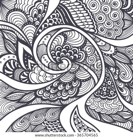 Abstract Pattern Or Texture In Zen Tangle Doodle Style Black On White For Coloring Page