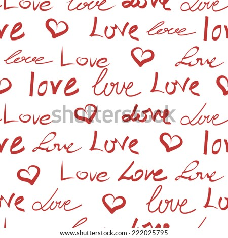 Abstract Pattern Romanticigraphy Wallpaper Cute Hand Drawn Text Background With Love Words And