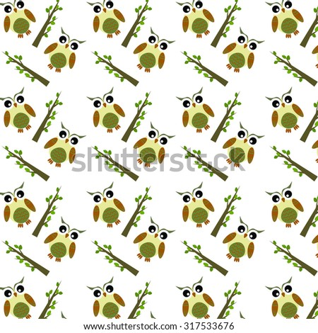 Abstract pattern with cute owls and trees - stock vector