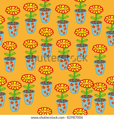 abstract pattern with room flowers. illustration - stock vector