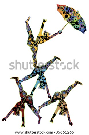 abstract patterned, people in the ethnic style of performing acrobatic number - stock vector