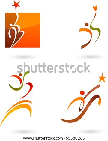 Abstract people icons collection - stock vector