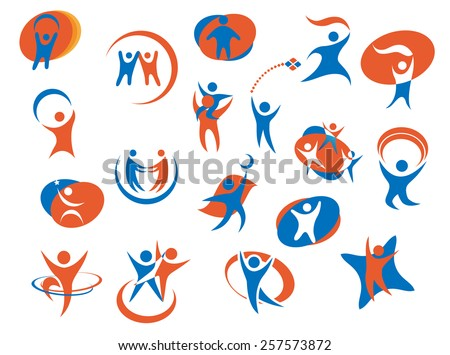 Abstract people silhouette icons or logo templates in blue and orange colors for business, sport or family concept design - stock vector
