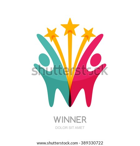 Abstract people silhouette with star firework. Vector logo design template. Concept for teamwork, creativity, training, business partnership, sport team. - stock vector