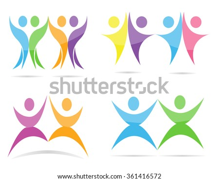Abstract people vector logo template.
