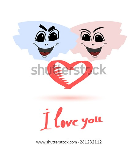 Abstract person in love. Symbol of love with an inscription on a white background. Vector illustration - stock vector