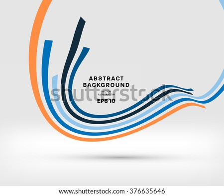 Abstract Perspective Curve Lines Background - stock vector