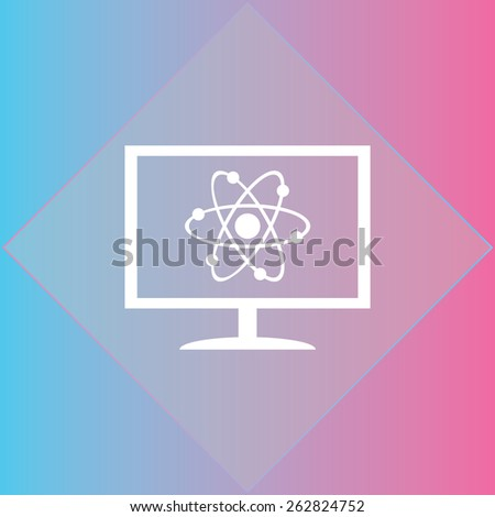 abstract physics science model monitor icon. vector illustration.  Flat design style - stock vector