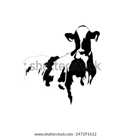 Abstract picture black and white cow on a white background - stock vector