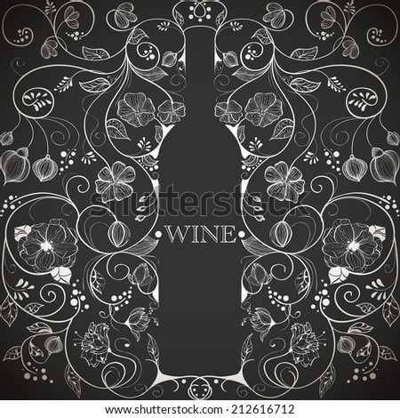 Abstract picture of floral wine bottle  - stock vector