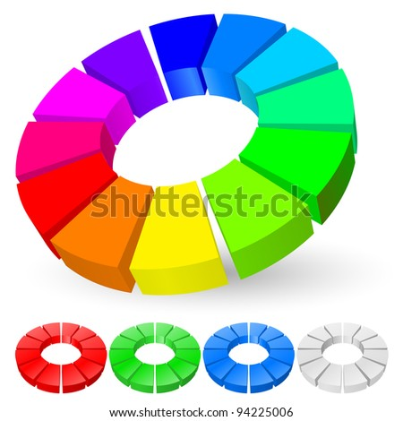 Abstract Pie chart number two. Illustration for design on white background - stock vector