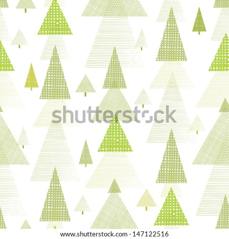 Abstract pine tree forest seamless pattern background - stock vector