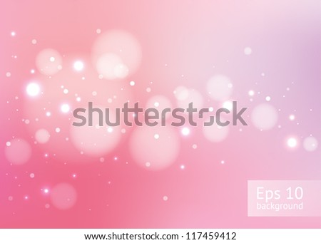 Abstract pink background with glitters, EPS10 file with transparent objects - stock vector