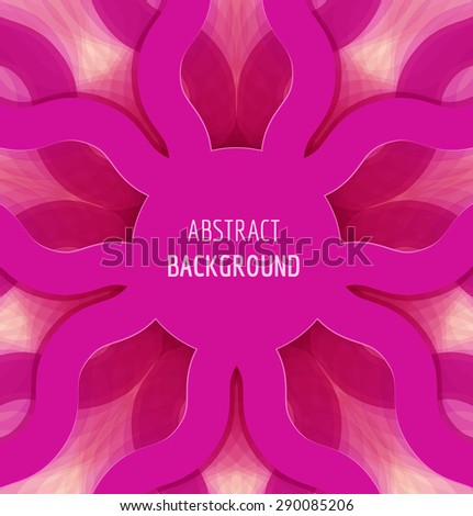 Abstract pink circle waves background with banner. Vector illustration - stock vector