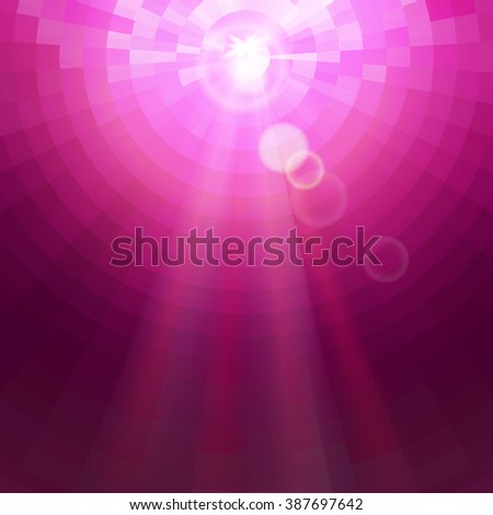Abstract Pink concentric circle shine mosaic vector background. Technology concept wallpaper. - stock vector