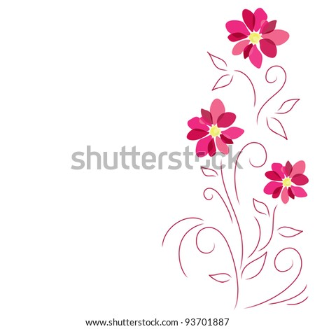 Abstract pink flowers - stock vector