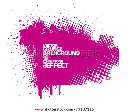 abstract pink grunge background with splats and halftone effect - stock vector