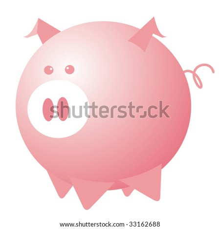 Abstract pink pig. Vector illustration.