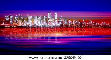 abstract pink red sunset background with silhouette of city vector illustration - stock vector