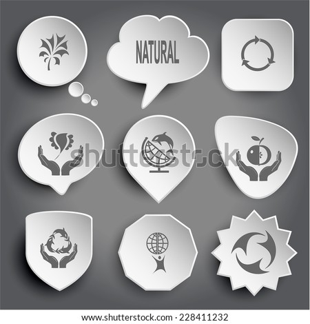 Abstract plant, natural, bird in hands, globe and shamoo, apple in hands, protection sea life, little man with globe, recycle symbol. White vector buttons on gray. - stock vector