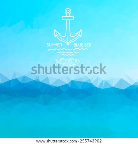 Abstract polygon background. Blue sea background with a pattern anchor and fish. Vector. - stock vector