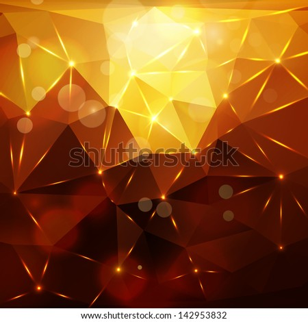 Abstract polygon background with bokeh and flares - stock vector