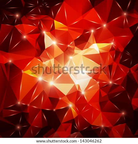 Abstract polygon background with flares - stock vector
