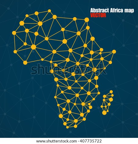 Abstract polygonal Africa map with  dots and lines, network connections, vector illustration - stock vector