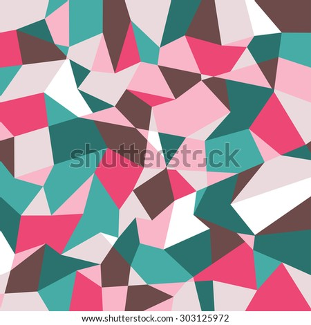 Abstract polygonal background. Geometric pattern. Vector backdrop. Blue and pink. - stock vector