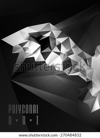 Abstract polygonal bird. Geometric illustration. low poly poster - stock vector