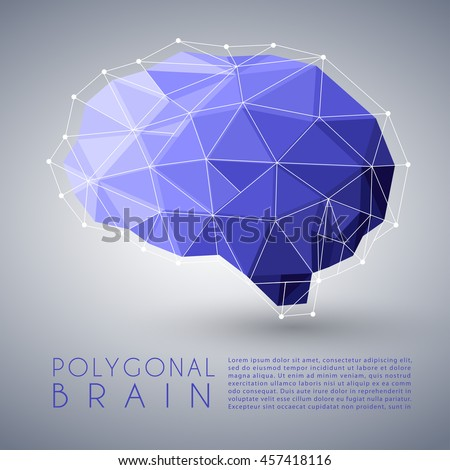 Abstract Polygonal Brain Shape : Vector Illustration