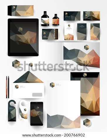 Abstract polygonal business set. Geometric, triangles. Corporate identity templates: blank, business cards, badge, envelope, pen, Folder for documents, Tablet PC,  Mobile Phone - stock vector
