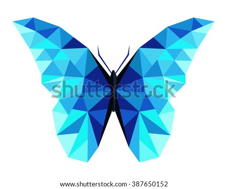 Abstract polygonal butterfly low poly vector illustration. - stock vector