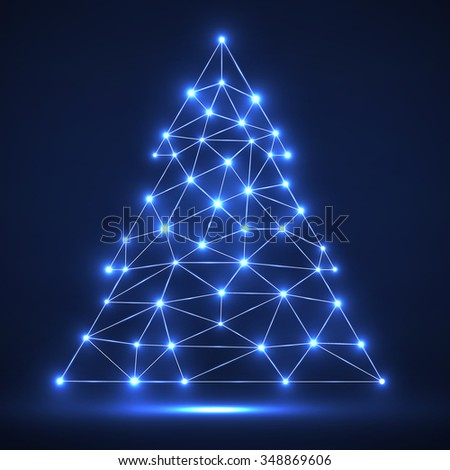 Abstract polygonal Christmas tree with glowing dots and lines, network connections. Vector illustration. Eps 10 - stock vector