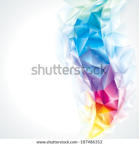 Abstract polygonal crystal colors background, vector. - stock vector