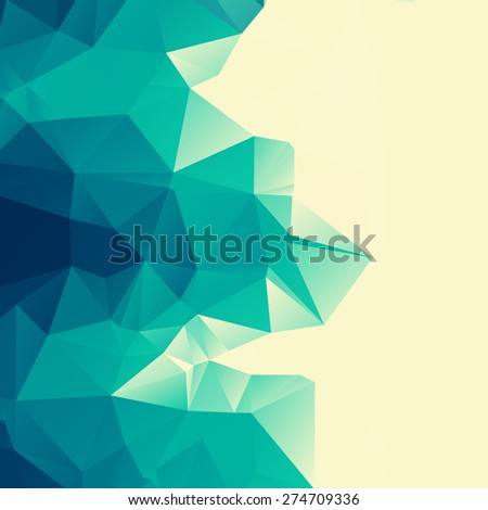 Abstract polygonal emerald background. Trendy geometric triangle hipster background. Ideal for gadgets backdrop or presentations. - stock vector