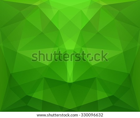Abstract polygonal geometric green background, with symmetry, in vector - stock vector