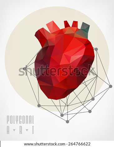 Abstract polygonal heart. Geometric hipster illustration. low poly illustration - stock vector