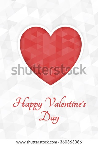 Abstract polygonal heart. Red origami heart on white background cut. Vector Illustration. Romantic background for Valentines day.