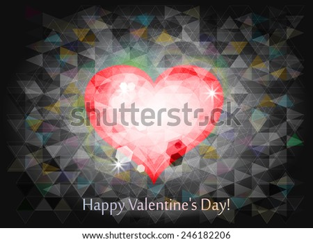 abstract polygonal heart vector background - stock vector
