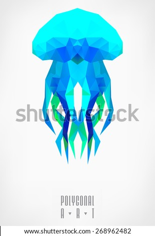 Abstract polygonal jellyfish. low poly illustration. Creative poster - stock vector