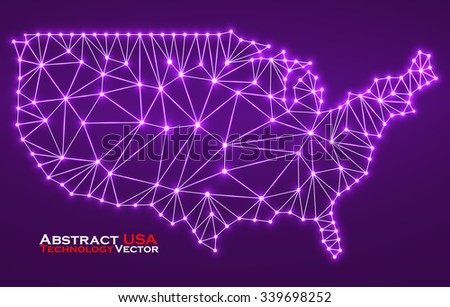 Abstract polygonal  map USA with glowing dots and lines, network connections. Vector illustration. Eps 10 - stock vector
