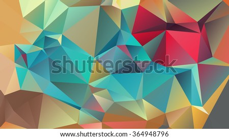 Abstract polygonal mosaic background consisting of triangles of different sizes and colors. Vector illustration in low poly style