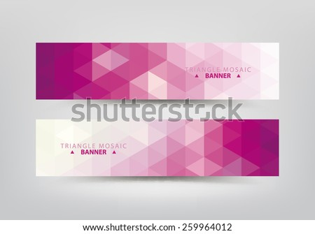 Abstract polygonal, mosaic, geometric, triangular pattern banners collection. - stock vector