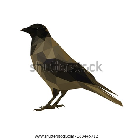 Abstract polygonal raven