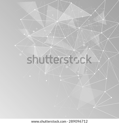 Abstract polygonal space low poly light grey background with connecting dots and lines. Connection structure. Vector science background. Polygonal vector background. Futuristic HUD background.Techno. - stock vector