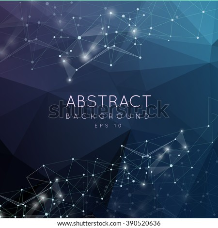 Abstract polygonal surface background. Low poly mesh design with connecting dot and line. Connection triangle structure.  Vector geometry futuristic decoration. Greeting card. Spectrumconcept - stock vector