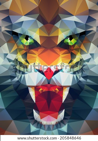 Abstract polygonal tiger. Geometric hipster illustration. Polygonal poster - stock vector