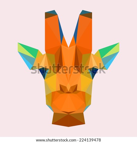 Abstract Polygonal Triangle Giraffe Portrait Vector Graphic Painted In Imaginary Orange Colors Icon For
