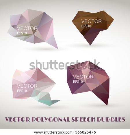 Abstract polygonal triangles speech bubbles vector EPS10 set. Template for business. - stock vector